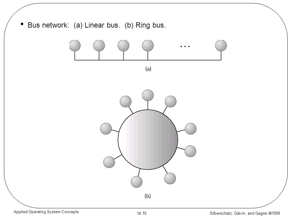 Silberschatz, Galvin, and Gagne 1999 14.10 Applied Operating System Concepts Bus network: (a) Linear bus. (b) Ring bus.