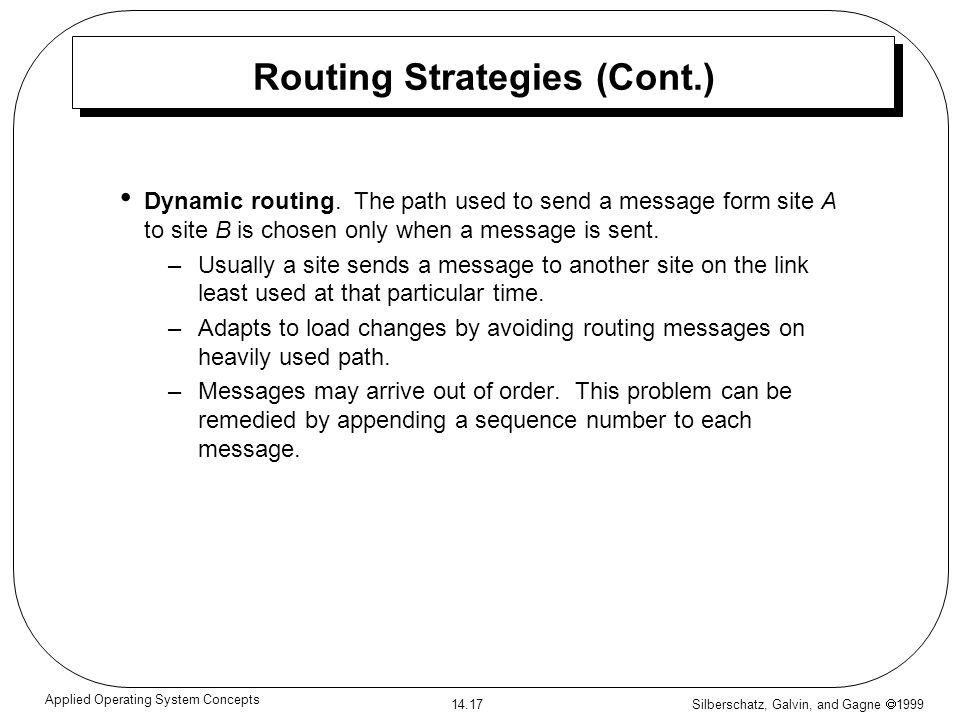 Silberschatz, Galvin, and Gagne 1999 14.17 Applied Operating System Concepts Routing Strategies (Cont.) Dynamic routing. The path used to send a messa