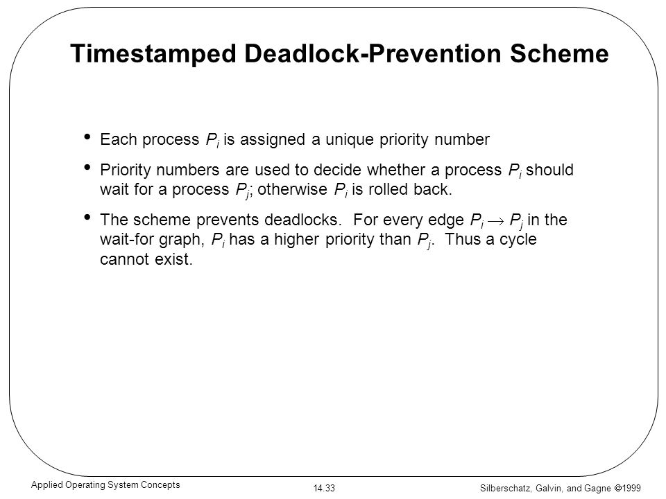 Silberschatz, Galvin, and Gagne 1999 14.33 Applied Operating System Concepts Timestamped Deadlock-Prevention Scheme Each process P i is assigned a uni