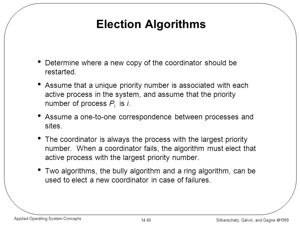 Silberschatz, Galvin, and Gagne 1999 14.40 Applied Operating System Concepts Election Algorithms Determine where a new copy of the coordinator should