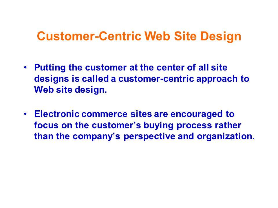 Customer-Centric Web Site Design Putting the customer at the center of all site designs is called a customer-centric approach to Web site design. Elec