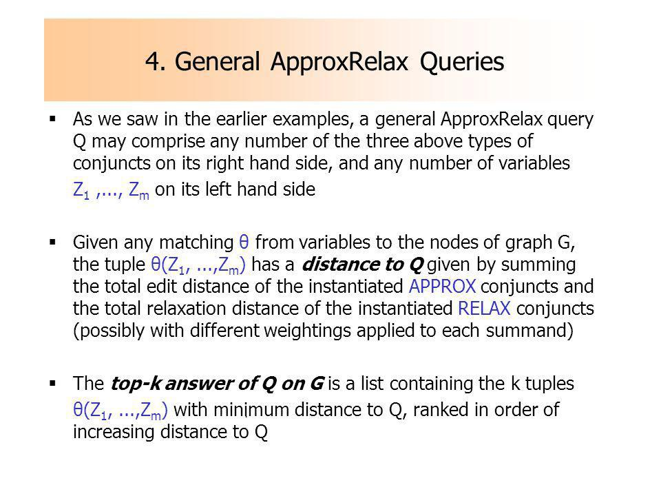4. General ApproxRelax Queries As we saw in the earlier examples, a general ApproxRelax query Q may comprise any number of the three above types of co