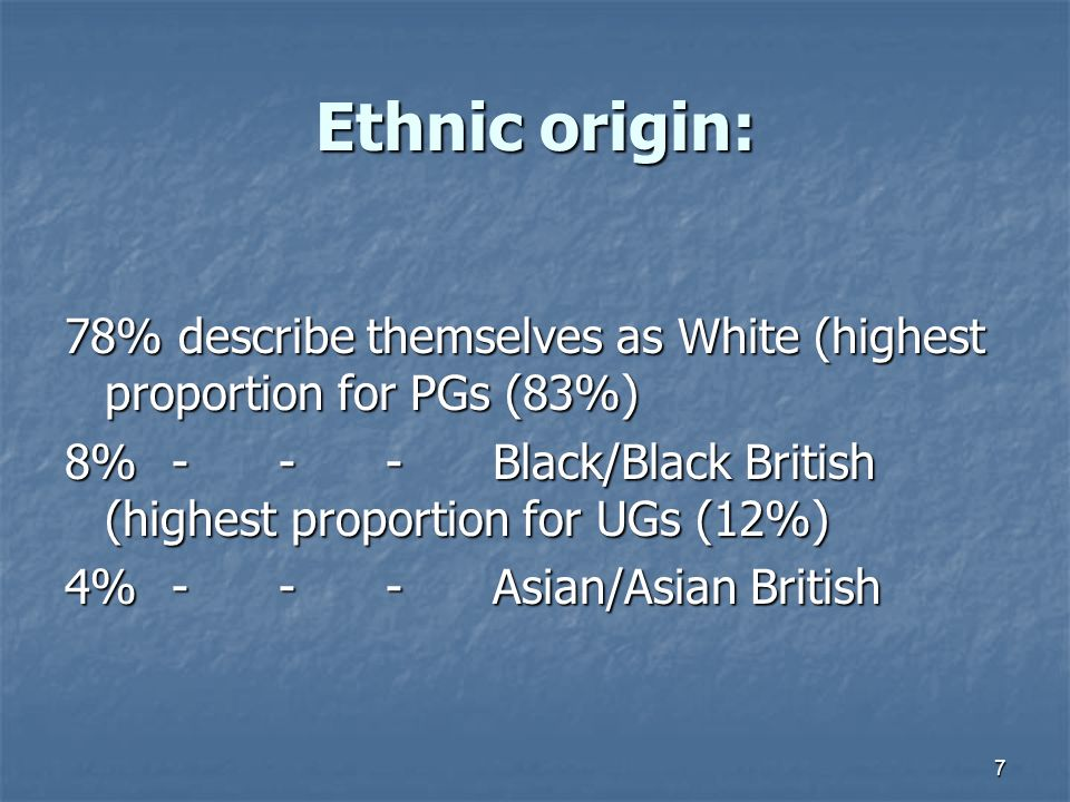 7 Ethnic origin: 78% describe themselves as White (highest proportion for PGs (83%) 8%---Black/Black British (highest proportion for UGs (12%) 4%---Asian/Asian British