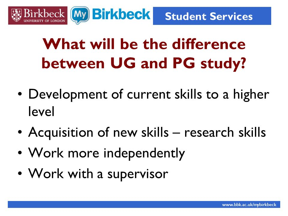 What will be the difference between UG and PG study.