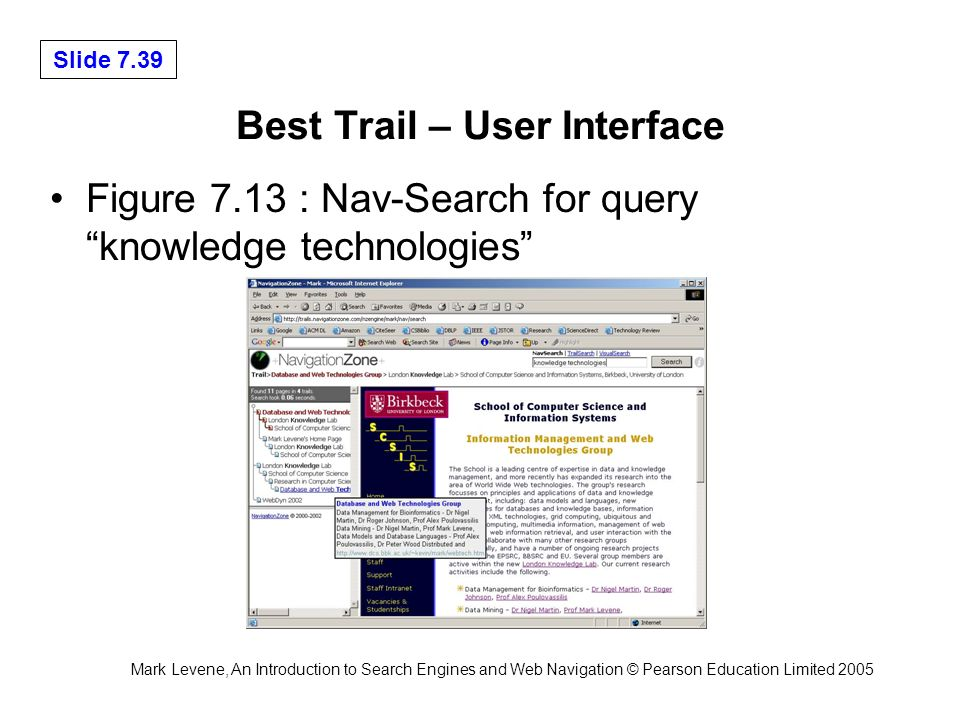 Mark Levene, An Introduction to Search Engines and Web Navigation © Pearson Education Limited 2005 Slide 7.39 Best Trail – User Interface Figure 7.13