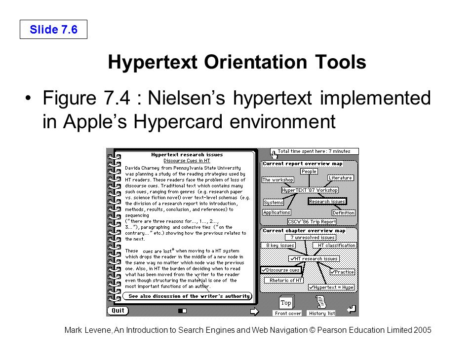 Mark Levene, An Introduction to Search Engines and Web Navigation © Pearson Education Limited 2005 Slide 7.6 Hypertext Orientation Tools Figure 7.4 :