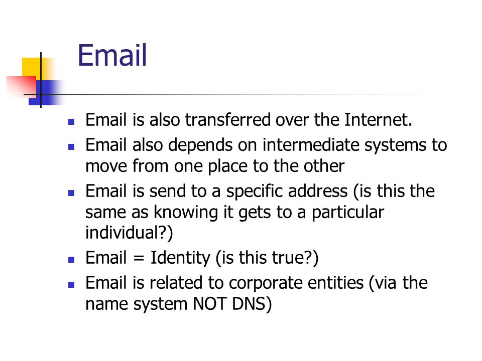 Email Email is also transferred over the Internet.