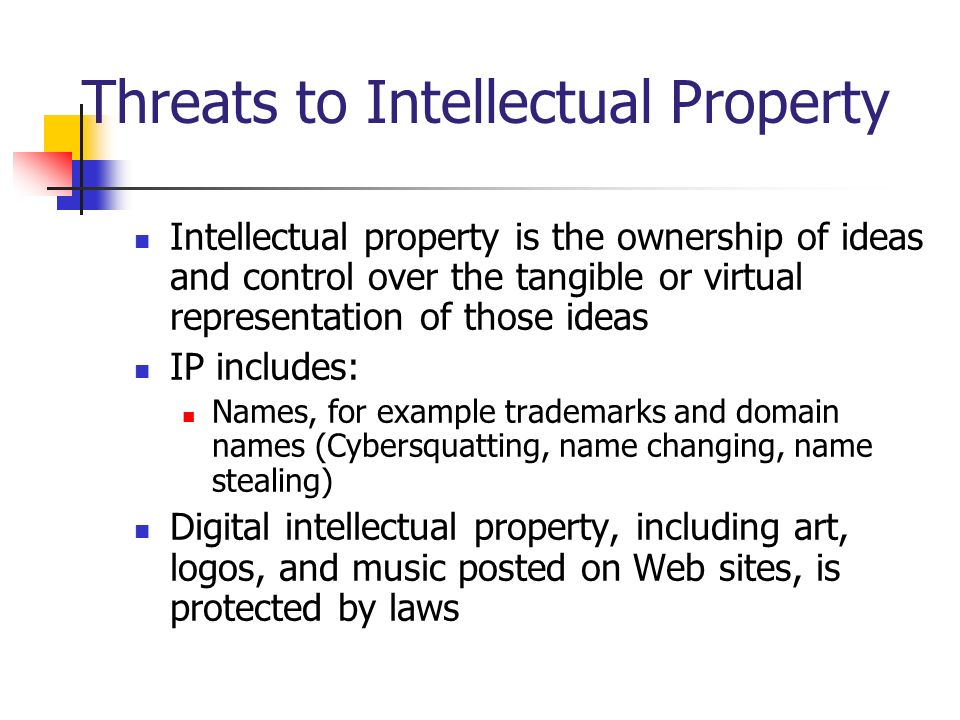 Threats to Intellectual Property Intellectual property is the ownership of ideas and control over the tangible or virtual representation of those idea