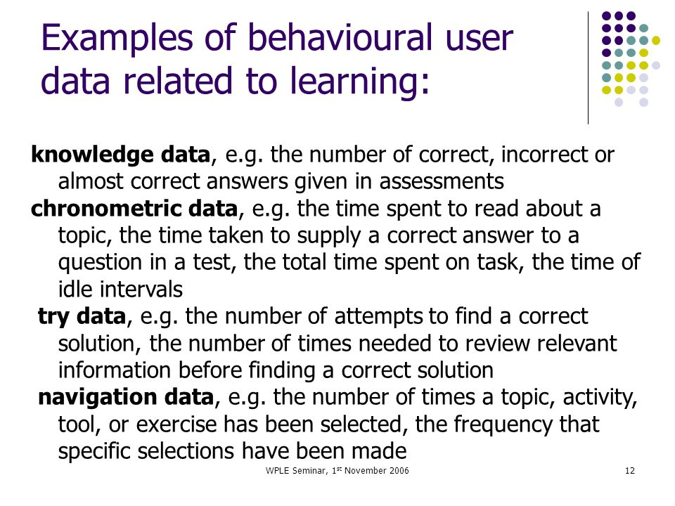 WPLE Seminar, 1 st November 200612 Examples of behavioural user data related to learning: knowledge data, e.g.
