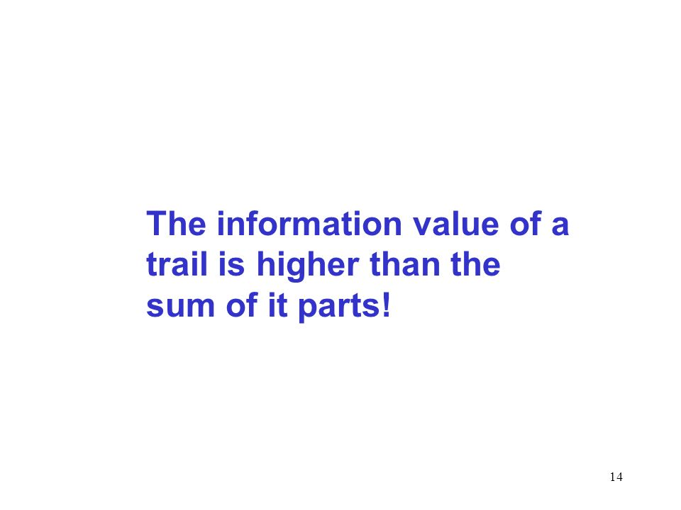14 The information value of a trail is higher than the sum of it parts!