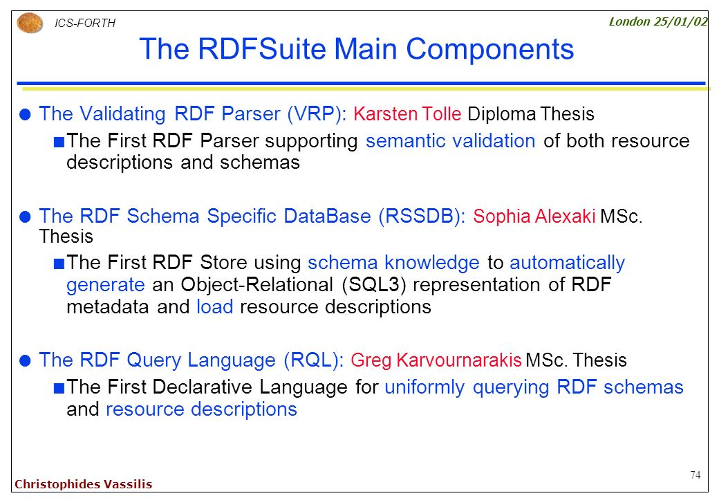 74 ICS-FORTH London 25/01/02 Christophides Vassilis The RDFSuite Main Components The Validating RDF Parser (VRP): Karsten Tolle Diploma Thesis The First RDF Parser supporting semantic validation of both resource descriptions and schemas The RDF Schema Specific DataBase (RSSDB): Sophia Alexaki MSc.
