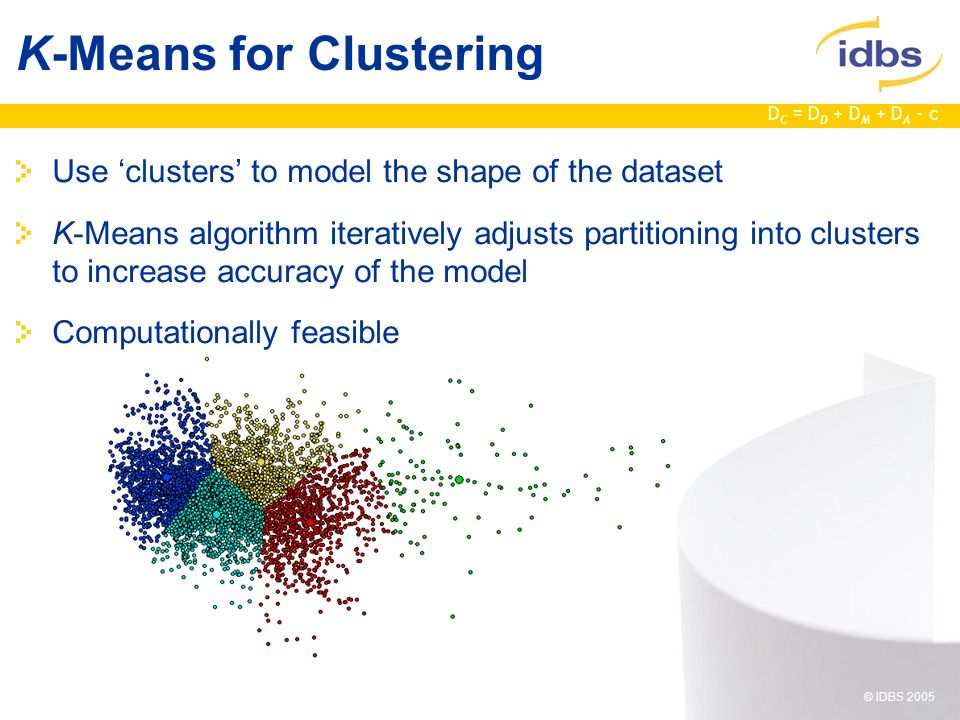 D C = D D + D M + D A - c © IDBS 2005 Use clusters to model the shape of the dataset K-Means algorithm iteratively adjusts partitioning into clusters to increase accuracy of the model Computationally feasible K-Means for Clustering