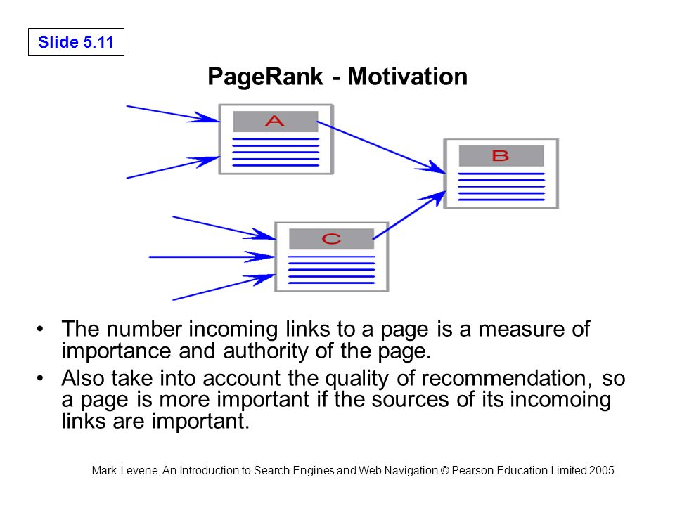 Mark Levene, An Introduction to Search Engines and Web Navigation © Pearson Education Limited 2005 Slide 5.11 PageRank - Motivation The number incoming links to a page is a measure of importance and authority of the page.