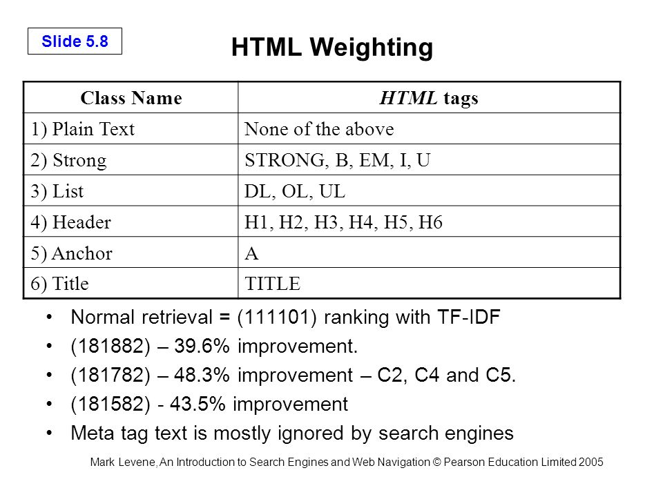 Mark Levene, An Introduction to Search Engines and Web Navigation © Pearson Education Limited 2005 Slide 5.9 Link-Based Metrics A link from A to B can be viewed as a recommendation, a vote or a citation.