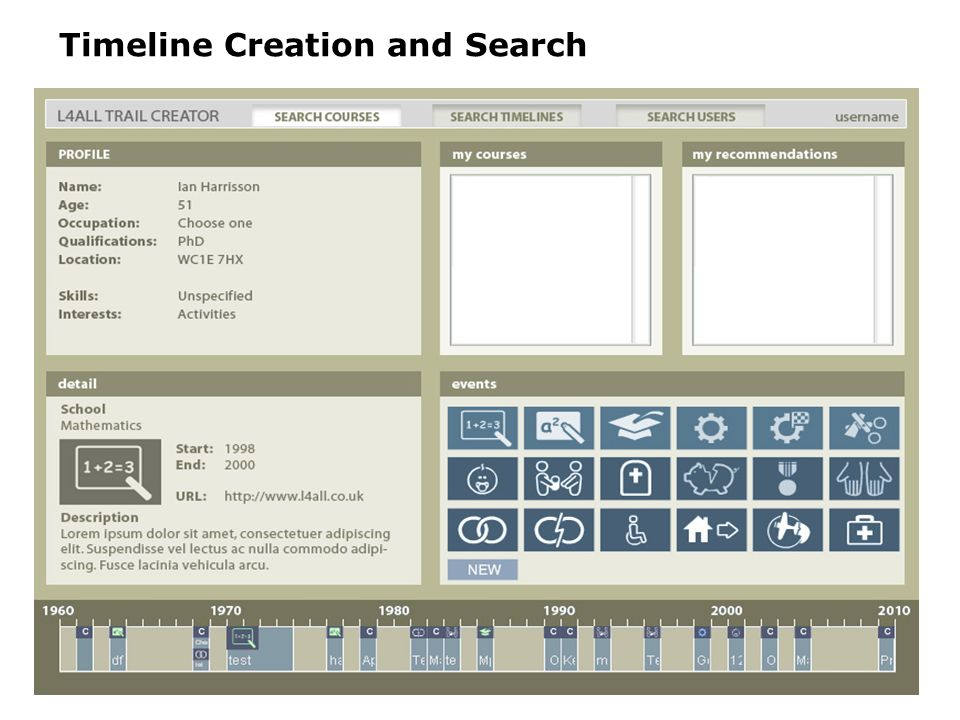 Timeline Creation and Search