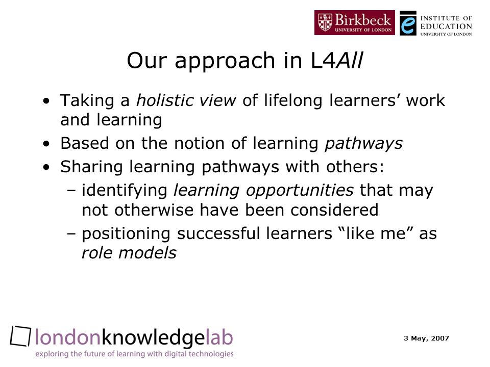 3 May, 2007 Our approach in L4All Taking a holistic view of lifelong learners work and learning Based on the notion of learning pathways Sharing learn