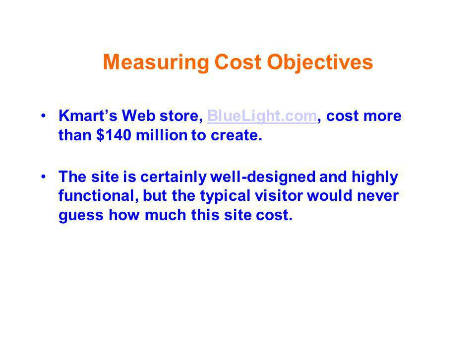 Measuring Cost Objectives Kmarts Web store, BlueLight.com, cost more than $140 million to create.BlueLight.com The site is certainly well-designed and