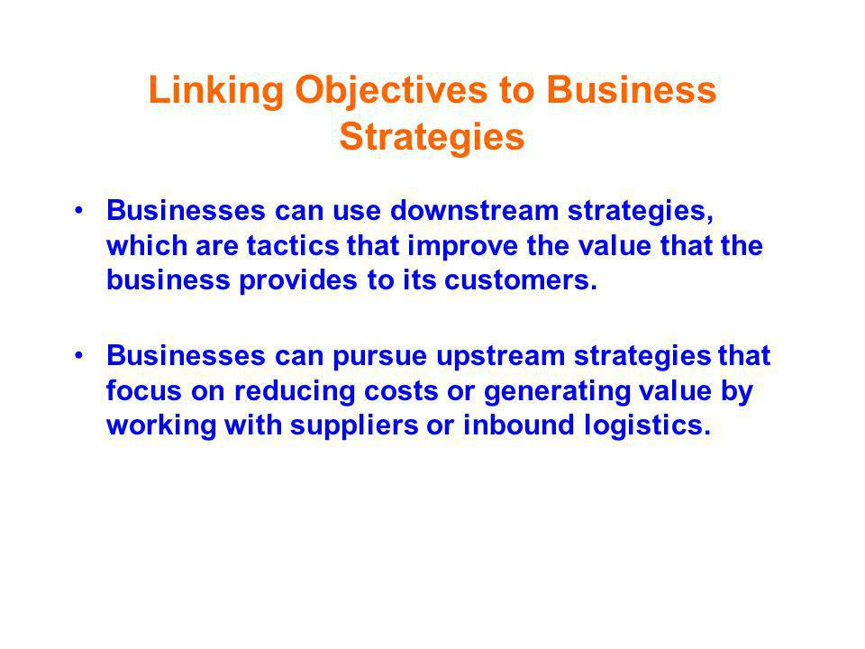Linking Objectives to Business Strategies Businesses can use downstream strategies, which are tactics that improve the value that the business provide