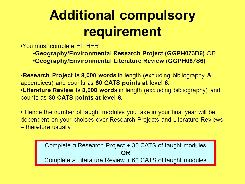 Additional compulsory requirement You must complete EITHER: Geography/Environmental Research Project (GGPH073D6) OR Geography/Environmental Literature