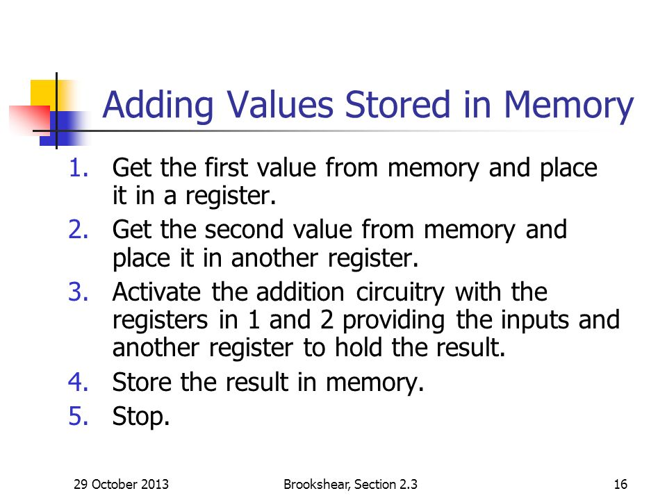 29 October 2013Brookshear, Section Adding Values Stored in Memory 1.Get the first value from memory and place it in a register.