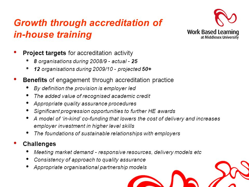 Growth through accreditation of in-house training Project targets for accreditation activity 8 organisations during 2008/9 - actual - 25 12 organisati