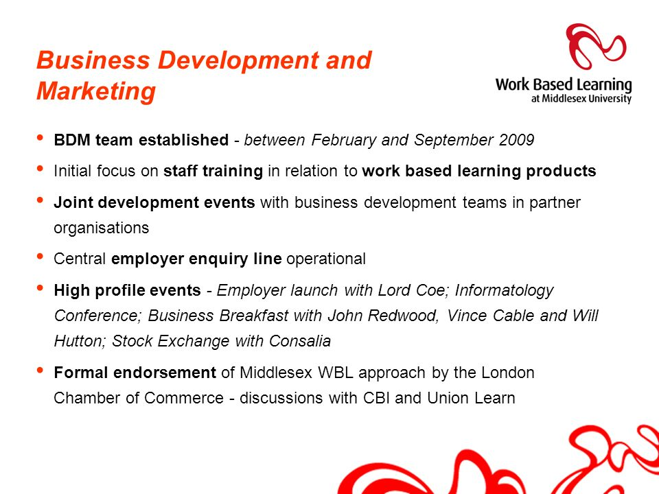 Business Development and Marketing BDM team established - between February and September 2009 Initial focus on staff training in relation to work base