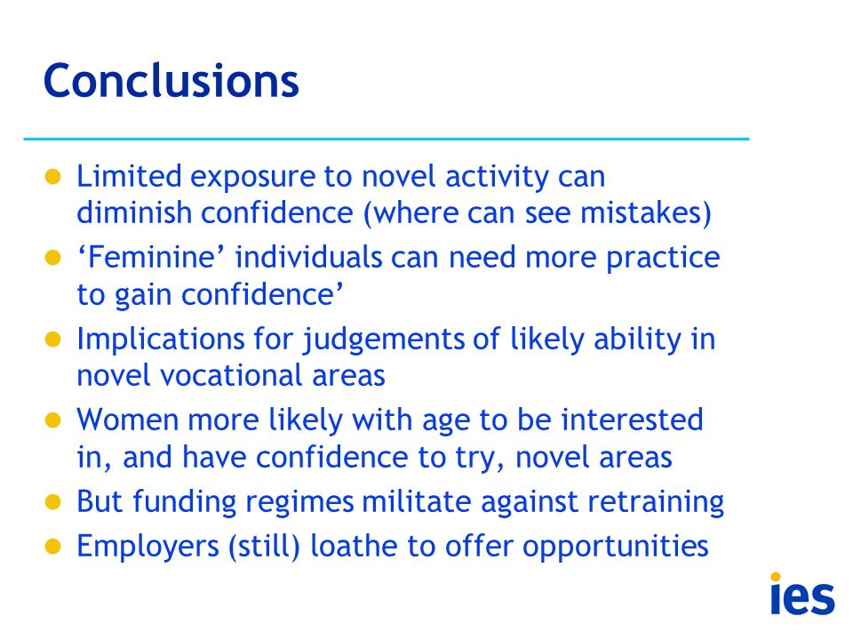 Conclusions Limited exposure to novel activity can diminish confidence (where can see mistakes) Feminine individuals can need more practice to gain co