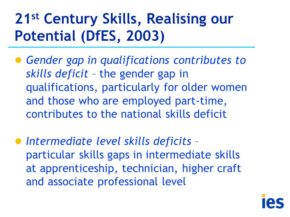21 st Century Skills, Realising our Potential (DfES, 2003) Gender gap in qualifications contributes to skills deficit – the gender gap in qualificatio