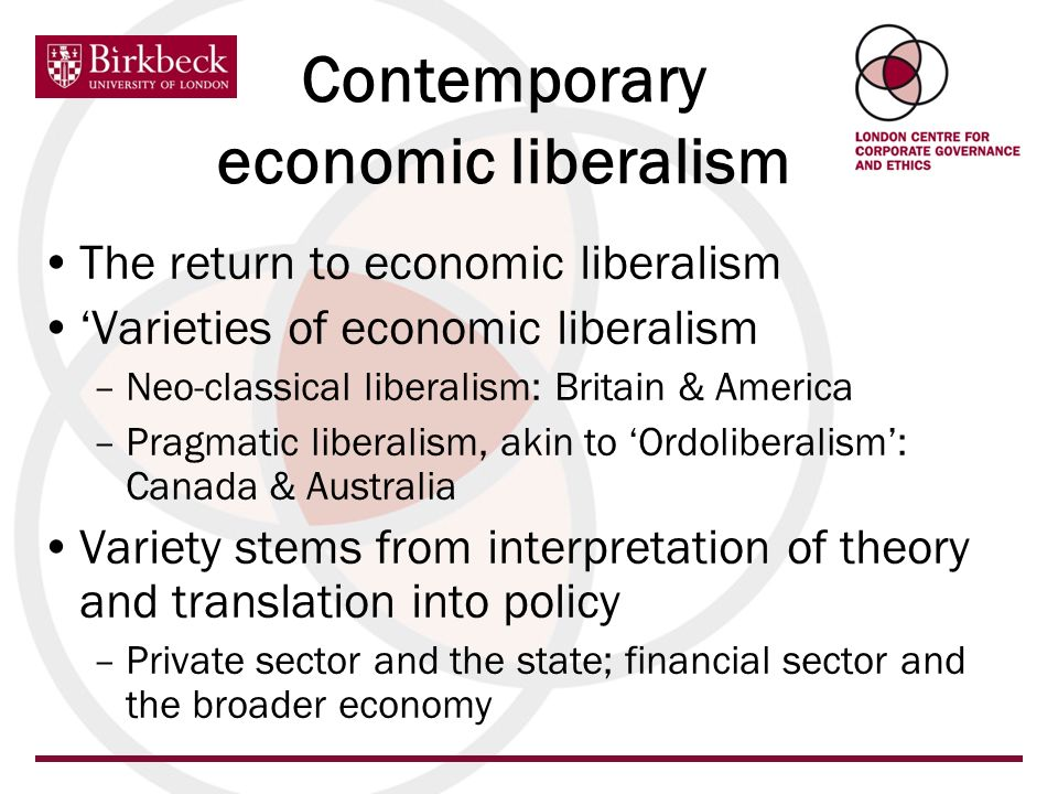 Contemporary economic liberalism The return to economic liberalism Varieties of economic liberalism –Neo-classical liberalism: Britain & America –Prag