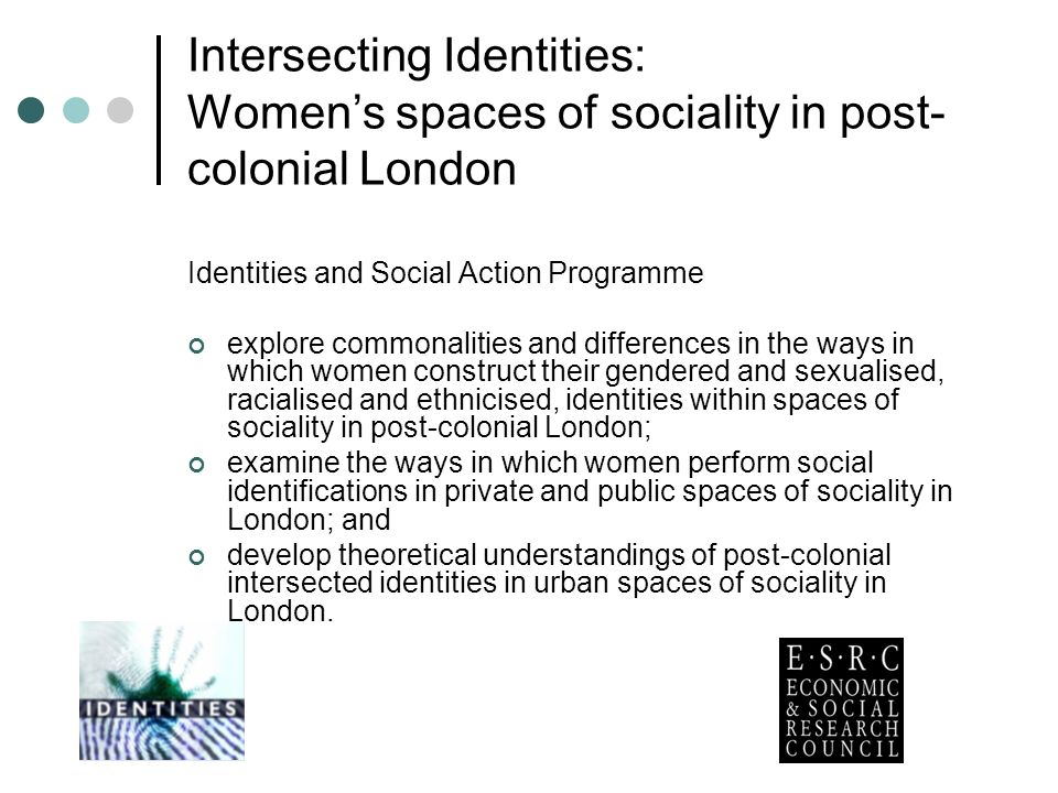 Intersecting Identities: Womens spaces of sociality in post- colonial London Identities and Social Action Programme explore commonalities and differences in the ways in which women construct their gendered and sexualised, racialised and ethnicised, identities within spaces of sociality in post-colonial London; examine the ways in which women perform social identifications in private and public spaces of sociality in London; and develop theoretical understandings of post-colonial intersected identities in urban spaces of sociality in London.