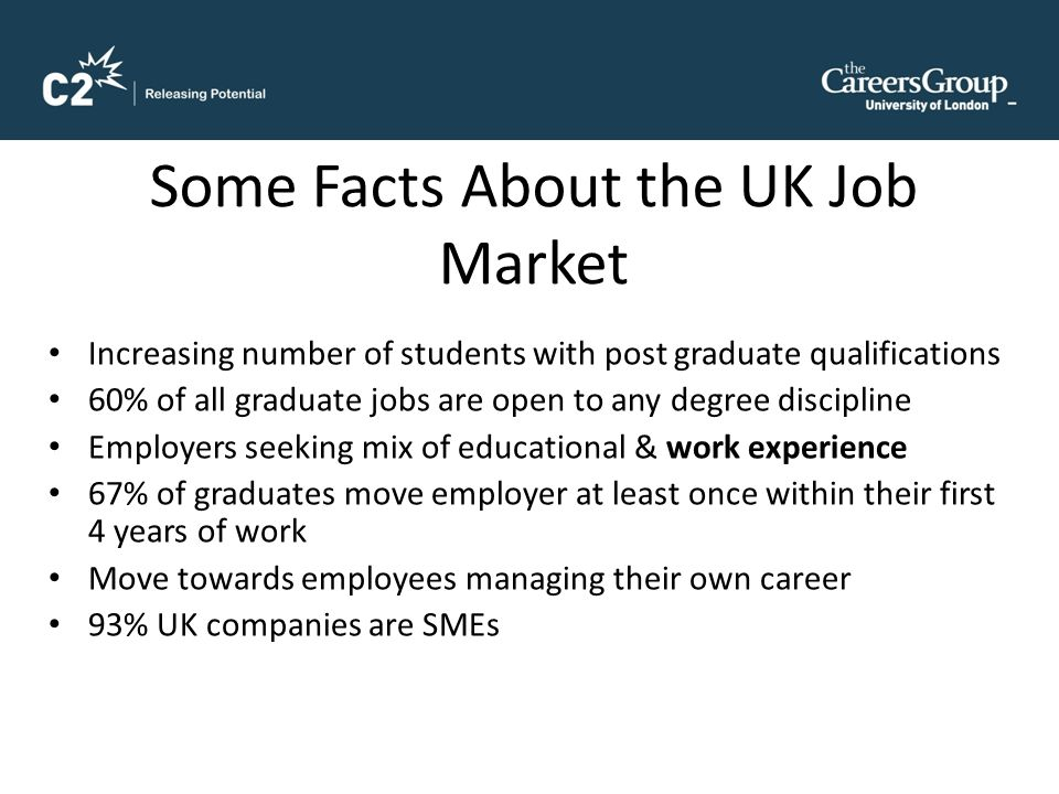 Some Facts About the UK Job Market Increasing number of students with post graduate qualifications 60% of all graduate jobs are open to any degree discipline Employers seeking mix of educational & work experience 67% of graduates move employer at least once within their first 4 years of work Move towards employees managing their own career 93% UK companies are SMEs