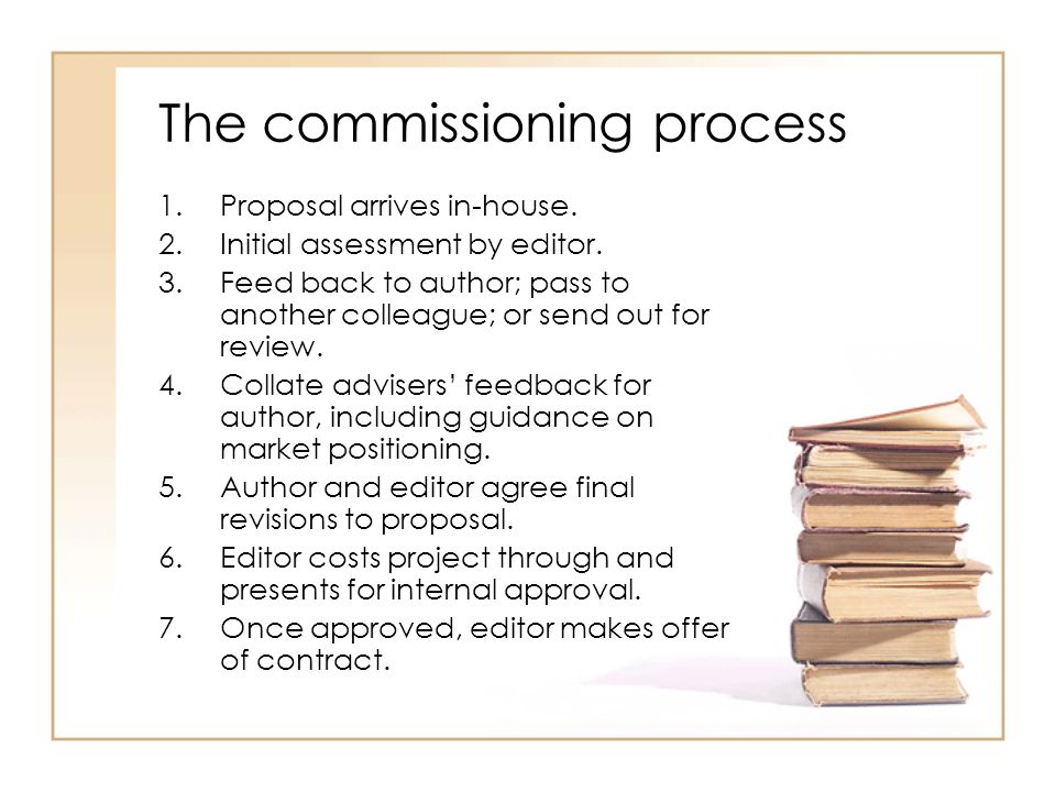 The commissioning process 1.Proposal arrives in-house.