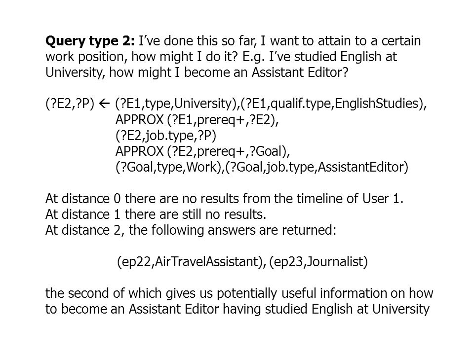 Query type 2: Ive done this so far, I want to attain to a certain work position, how might I do it.