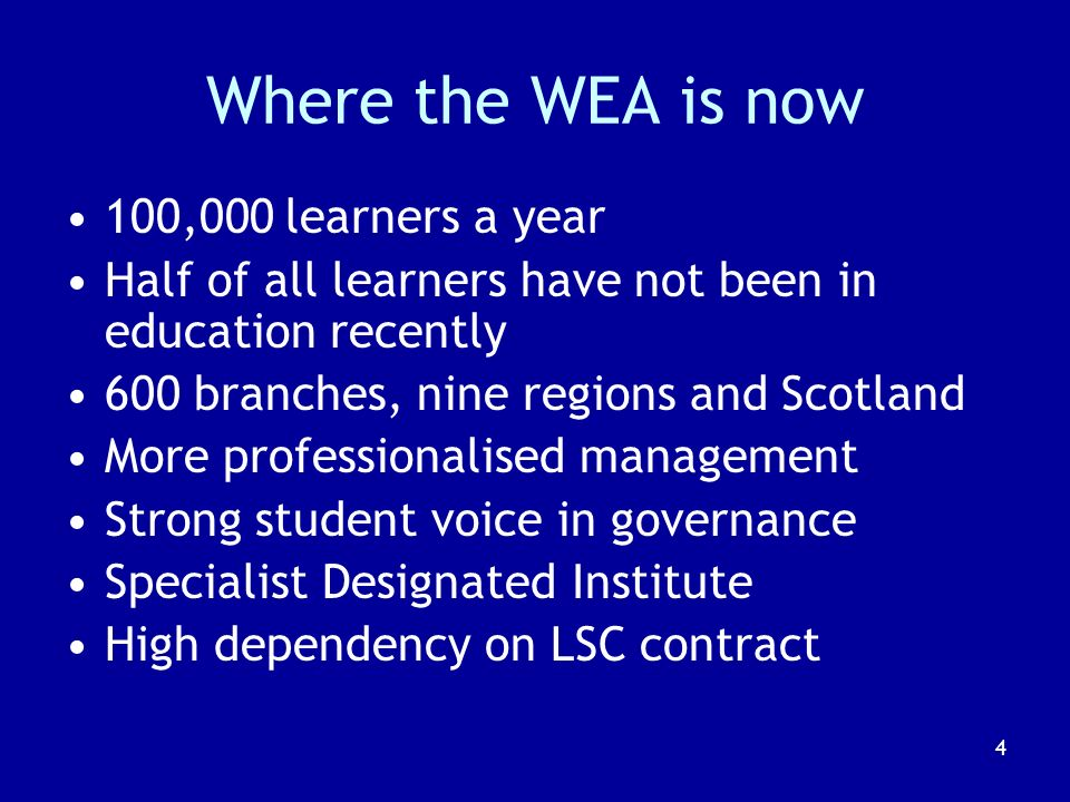 5 How the WEA fared in the Learning Age Growth in volume of provision over late 1990s into new millennium Internal crisis of leadership and management 2002-2004 Supportive intervention from local LSC Restructuring and reorganising with new senior management Recovered position in quality and finances