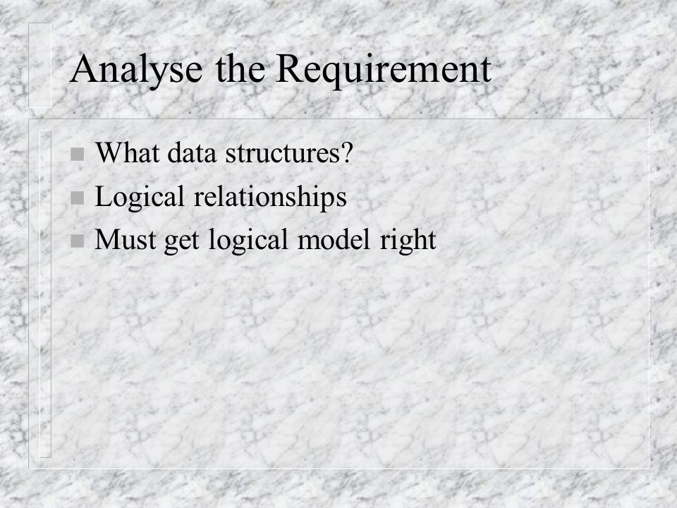 Analyse the Requirement n What data structures.