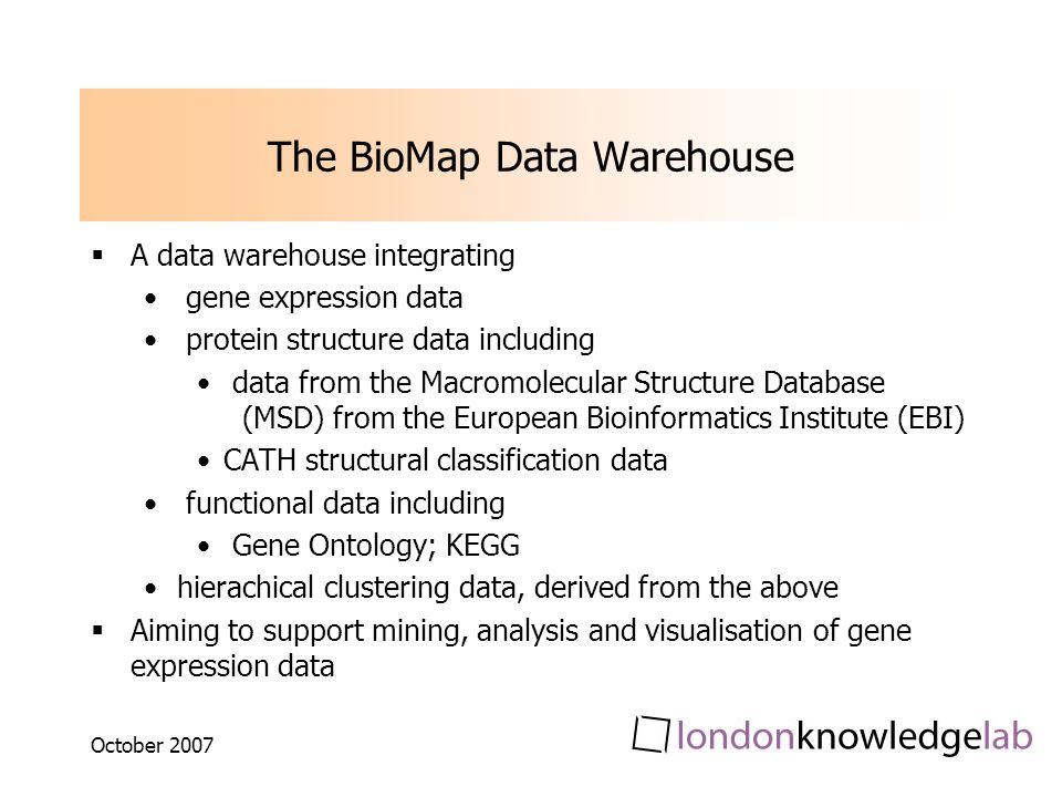 October 2007 The BioMap Data Warehouse A data warehouse integrating gene expression data protein structure data including data from the Macromolecular Structure Database (MSD) from the European Bioinformatics Institute (EBI) CATH structural classification data functional data including Gene Ontology; KEGG hierachical clustering data, derived from the above Aiming to support mining, analysis and visualisation of gene expression data