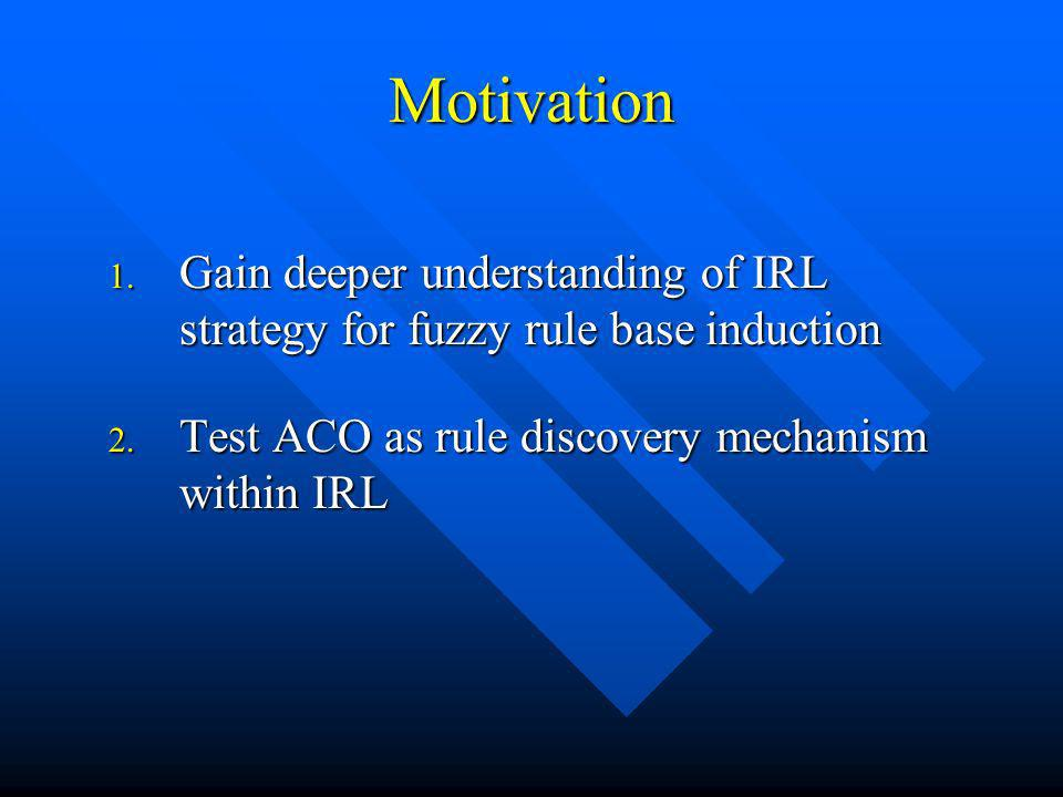 Motivation 1. Gain deeper understanding of IRL strategy for fuzzy rule base induction 2. Test ACO as rule discovery mechanism within IRL