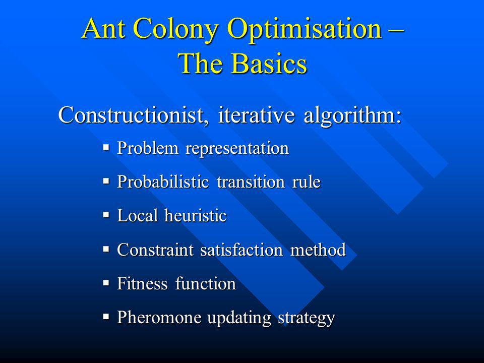Ant Colony Optimisation – The Basics Problem representation Problem representation Probabilistic transition rule Probabilistic transition rule Local heuristic Local heuristic Constraint satisfaction method Constraint satisfaction method Fitness function Fitness function Pheromone updating strategy Pheromone updating strategy Constructionist, iterative algorithm: