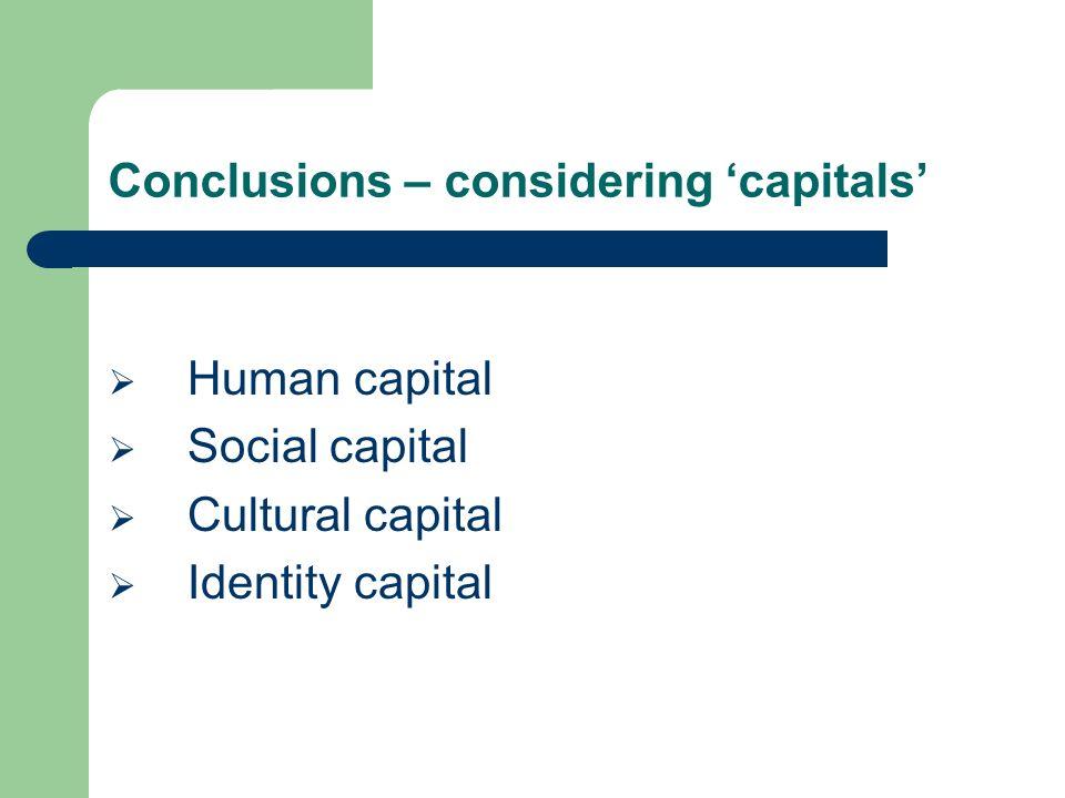 Conclusions – considering capitals Human capital Social capital Cultural capital Identity capital