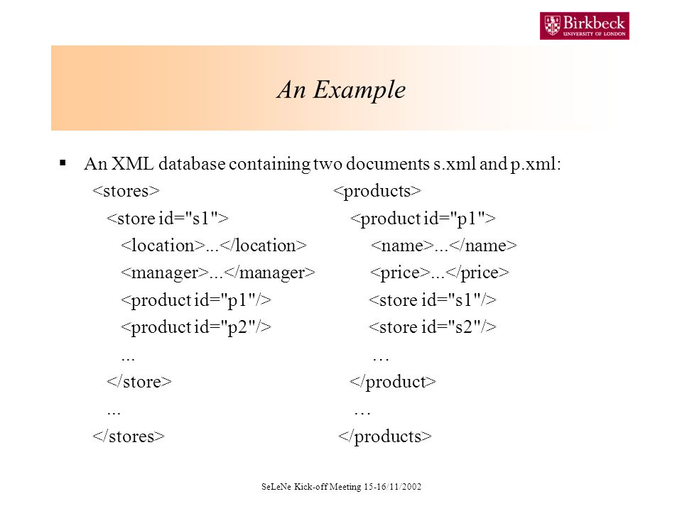 SeLeNe Kick-off Meeting 15-16/11/2002 An Example An XML database containing two documents s.xml and p.xml:.........