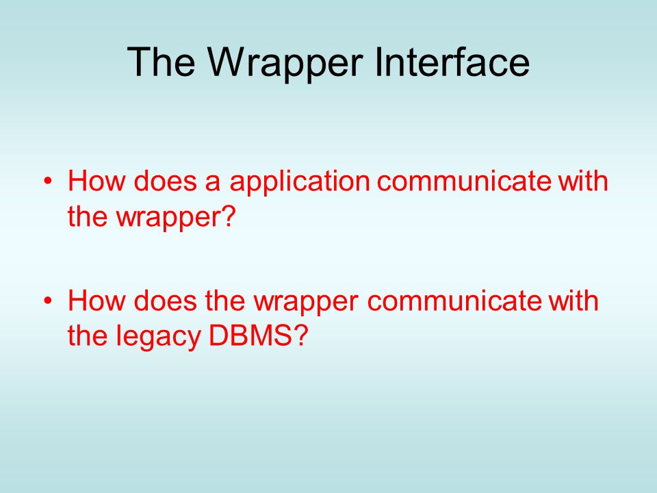 The Wrapper Interface How does a application communicate with the wrapper.
