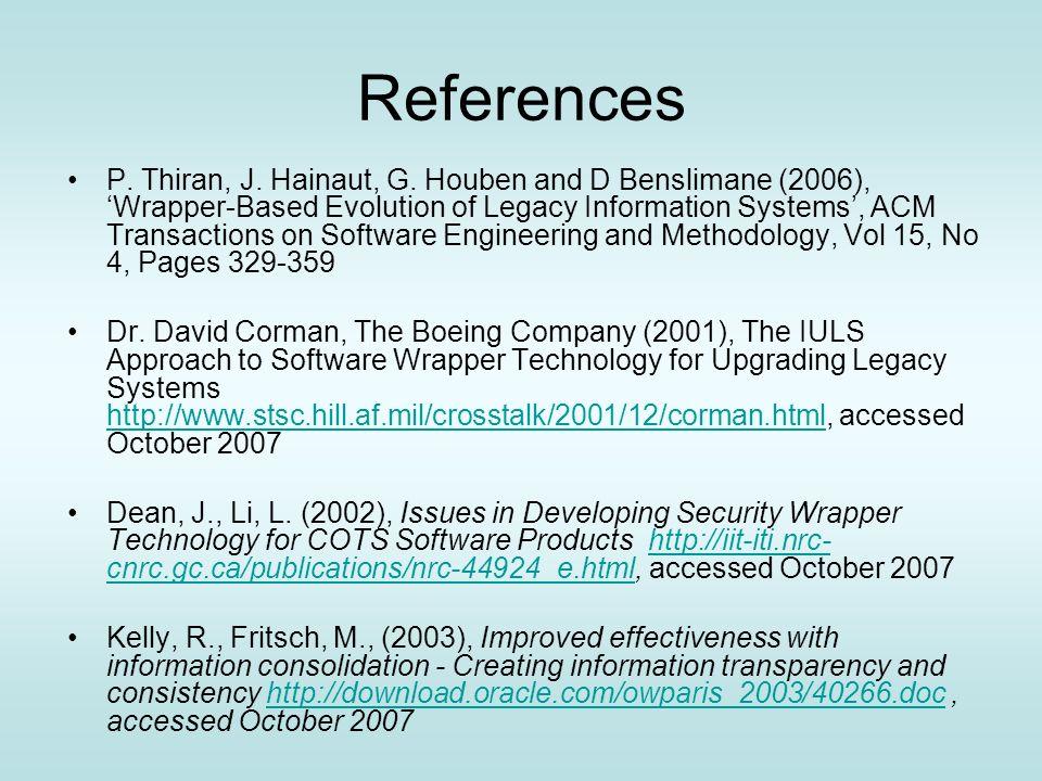 References P. Thiran, J. Hainaut, G.
