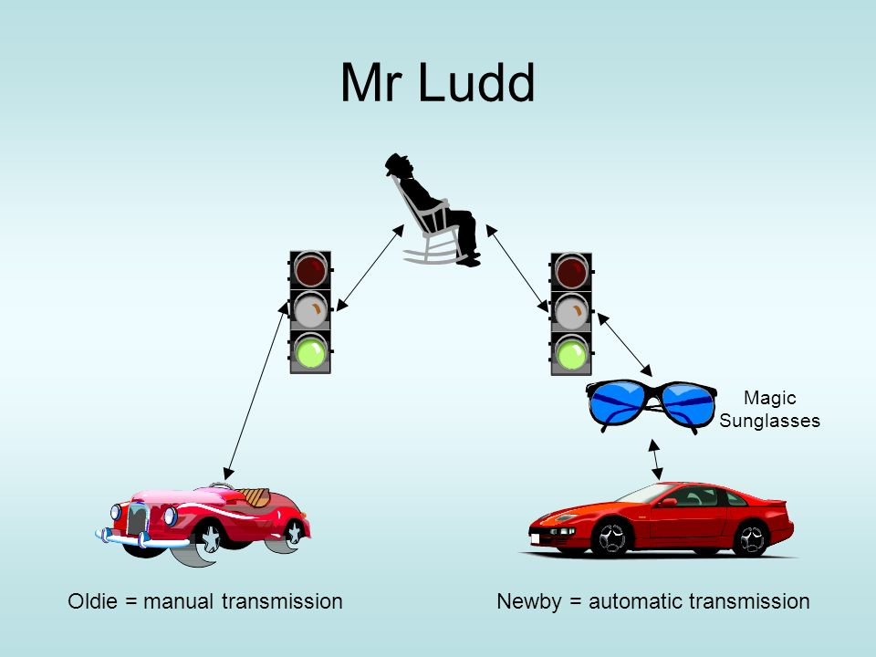 Mr Ludd Oldie = manual transmissionNewby = automatic transmission Magic Sunglasses