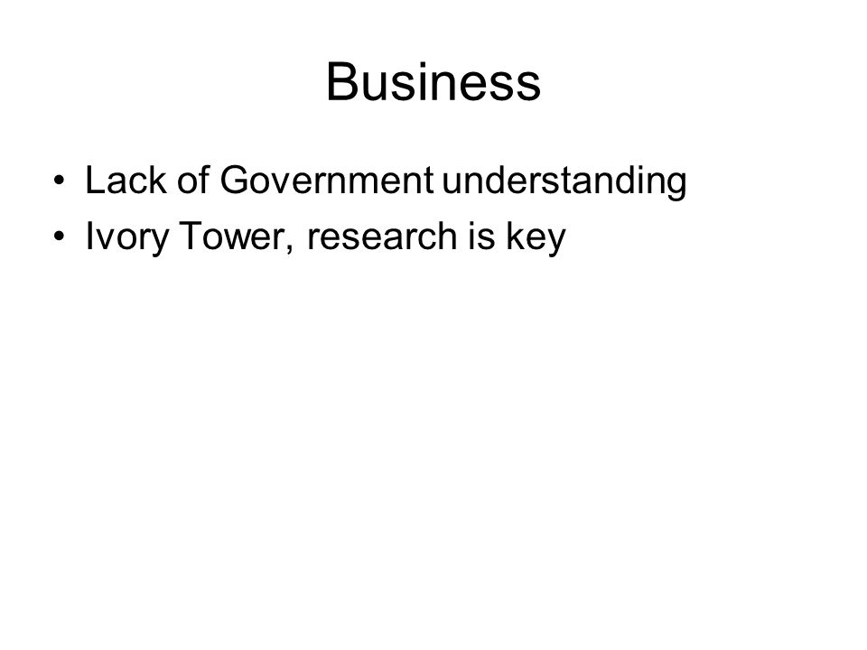 Business Lack of Government understanding Ivory Tower, research is key