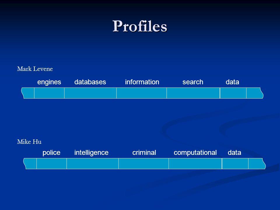 Profiles datadatabasesinformationsearchengines dataintelligencecriminalcomputationalpolice Mark Levene Mike Hu