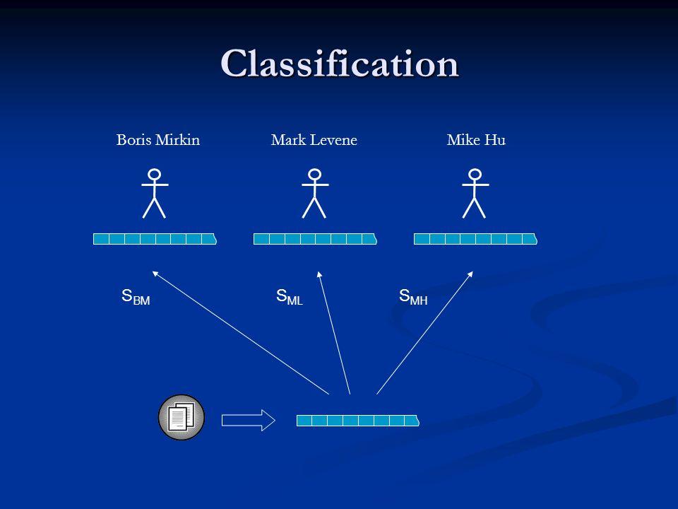 Classification Boris MirkinMark LeveneMike Hu S BM S ML S MH