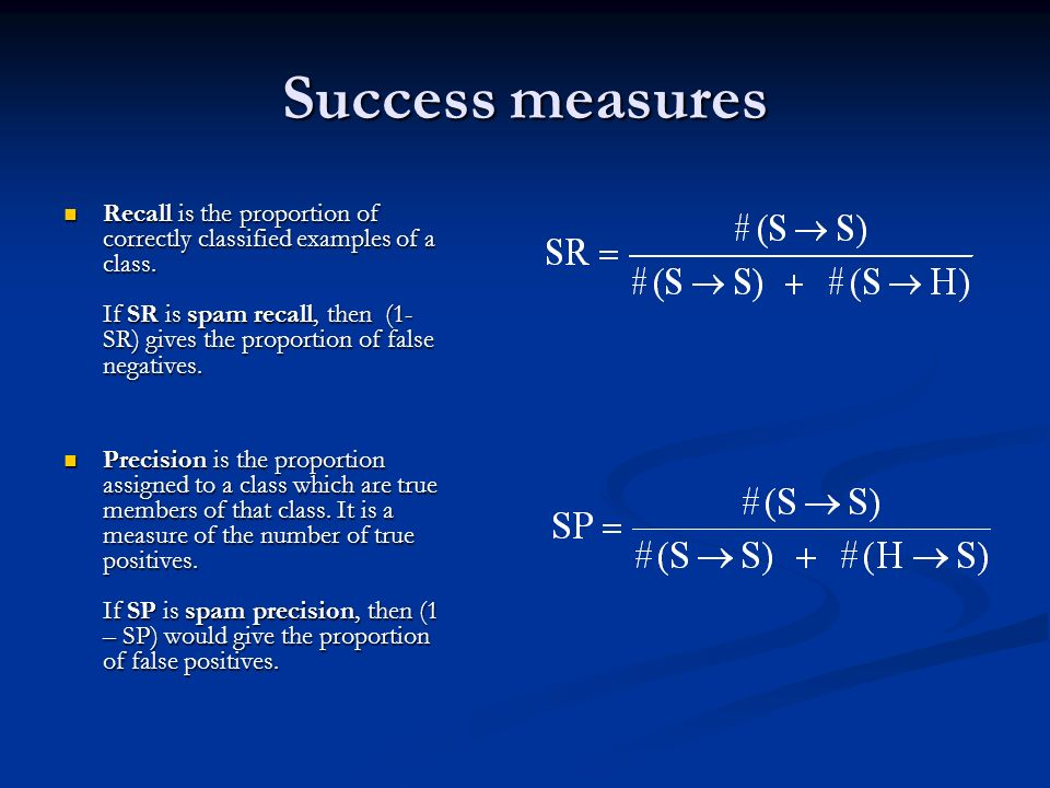 Success measures Recall is the proportion of correctly classified examples of a class. If SR is spam recall, then (1- SR) gives the proportion of fals