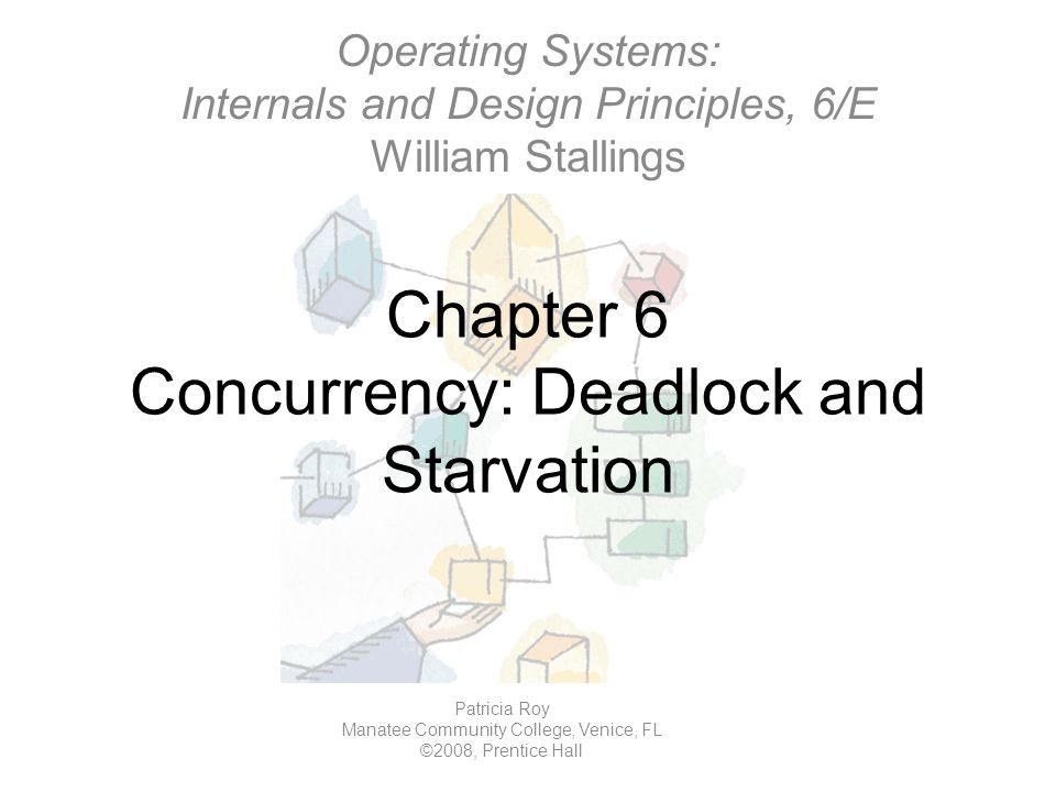 Chapter 6 Concurrency: Deadlock and Starvation Operating Systems: Internals and Design Principles, 6/E William Stallings Patricia Roy Manatee Community College, Venice, FL ©2008, Prentice Hall