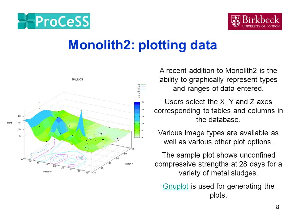 8 Monolith2: plotting data A recent addition to Monolith2 is the ability to graphically represent types and ranges of data entered. Users select the X
