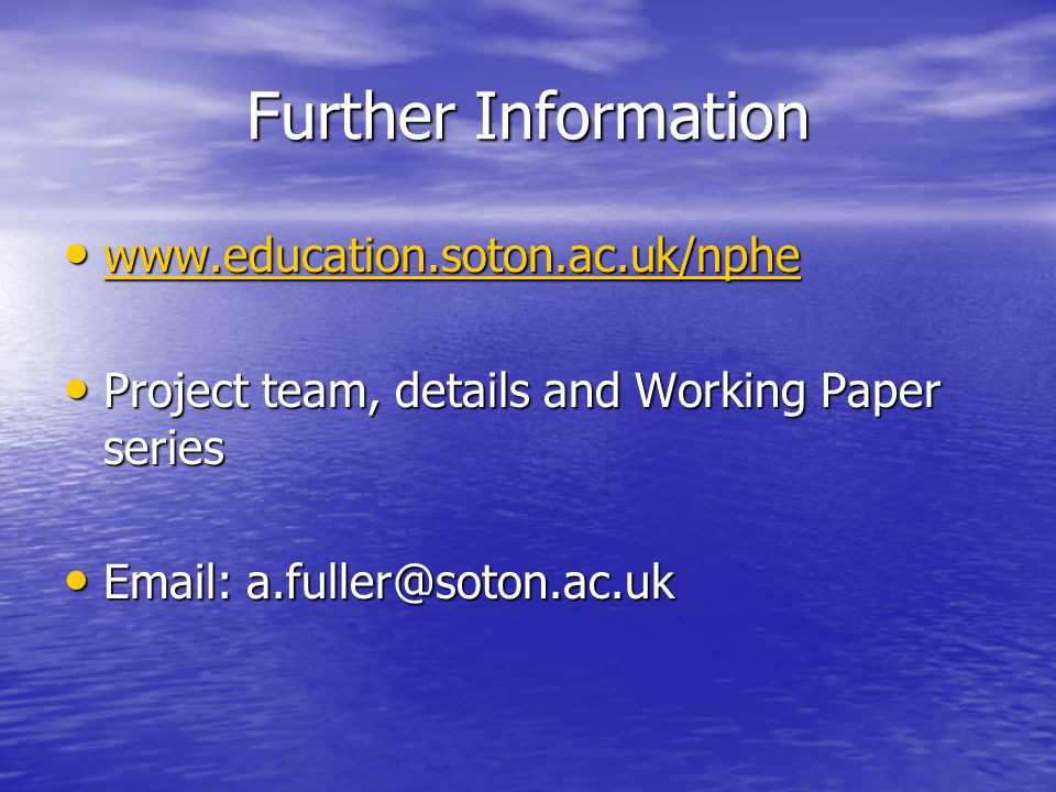 Further Information Project team, details and Working Paper series Project team, details and Working Paper series